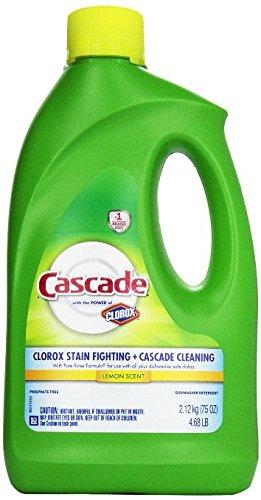 Cascade Gel Dishwasher Detergent, with the power of Clorox, Lemon Scent 75 Oz