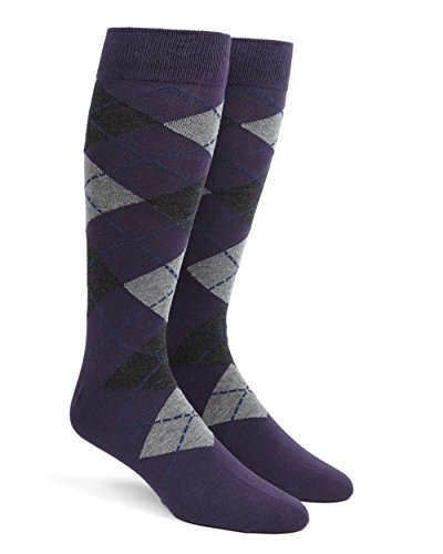 The Tie Bar Argyle Purple Men's Cotton Blend Dress Socks