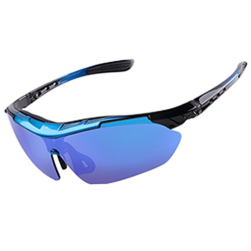 Polarized Designer Sports Sunglasses 3 Set Interchangeable Lenses for Cycling (Black, - Scattante Sunglasses