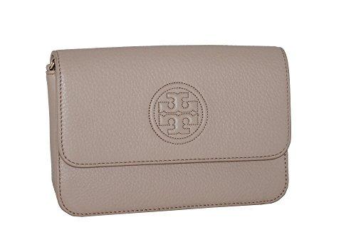 Beige Signature Flap - Tory Burch Bag Bombe Mini TB Logo Leather Crossbody Bag Leather Handbag (LIGHT OAK)