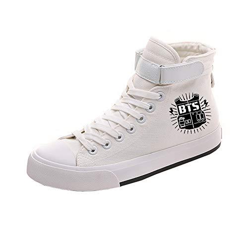 Popular Bts Ayuda Cordones Zapatos Lona Cómodo Personalidad Casuales White19 De Alta Con Pareja RRpqa