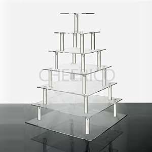 7 Tier Square Wedding Acrylic Cupcake Stand Tree Tower Cup Cake Display