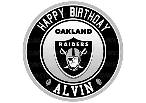 Oakland Raiders Edible Cake Topper Personalized Birthday 8