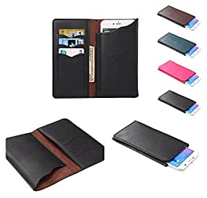 DFV mobile - Vertical Cover Premium PU Leather Case with Wallet & Card Slots for => TCL Idol 3 > Black