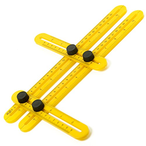 Angle Template Tool #1 RETOOLS with Metal thread on the knobs - Plastic- Super Angle Finder & Multi-Angle Measuring Ruler for Handymen, Builders, Tilers, Craftsmen and DIY-ers