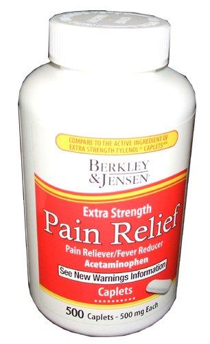 Pain Reducer (Berkley and Jensen Extra Strength Pain Relief Pain Reliever Fever Reducer Acetaminophen 500 mg Caplets 500 Per)