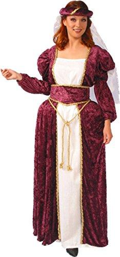 Alexanders Costumes Women's Queen Ann, Burgundy, Medium (Renaissance Skirt & Hat)