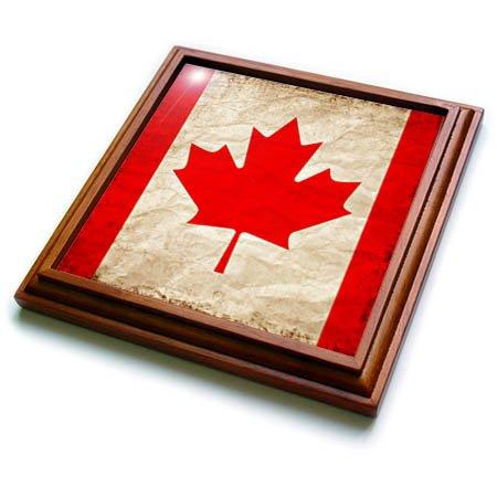 3dRose trv_255817_1 Canadian Flag Maple Leaf Old Look Trendy Work Trivet with Tile, 8 by 8''