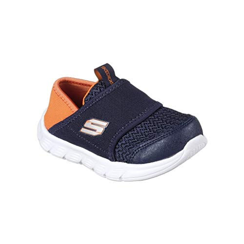 Shoes Navy orange Contrast On Boys Slip Mesh Skechers Comfy Trainers Flex wxF4Pnq8f