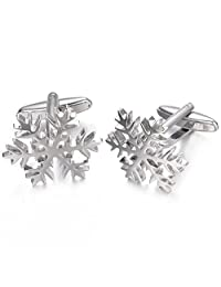 Yoursfs Snowflake Cufflinks Snowflake Cut Out Winter Snow Theme Shirt Exquisite Cuff Links Christmas Pair Unisex
