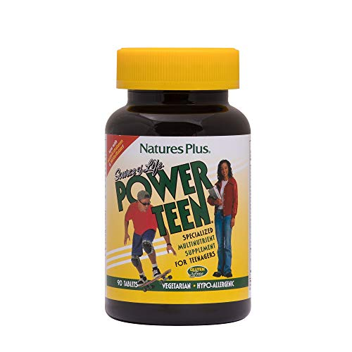 NaturesPlus Source of Life Power Teen - 90 Vegetarian Tablets - Teen Multivitamin with Minerals & Whole Foods for Mental Focus, Energy Booster - Gluten-Free - 45 Servings