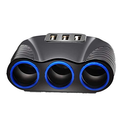 Mini Clock Dvr Desk - 3 Way Car Multi Cigarette Lighter Socket Splitter 3Usb Charger 12V Power Adapter by Charberry
