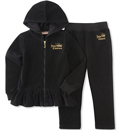 Juicy Couture Girls' Little 2 Piece Velour Pants Set, Black Pool, 5 ()