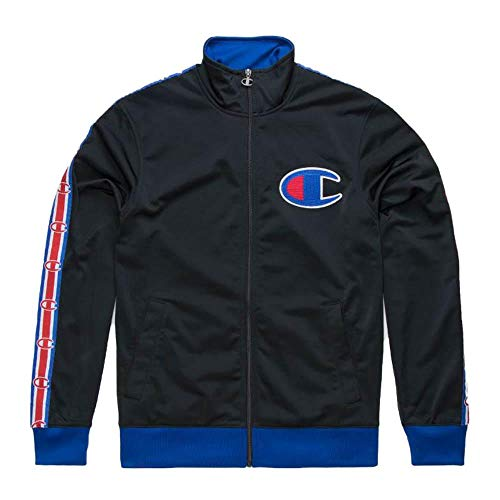 Champion LIFE Men's Track Jacket, Black/surf The Web w/c Plush Knit Logo X Large