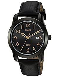 Timex Men's 'Easy Reader' Quartz Brass and Leather Casual Watch, Color:Black (Model: TW2R298009J)