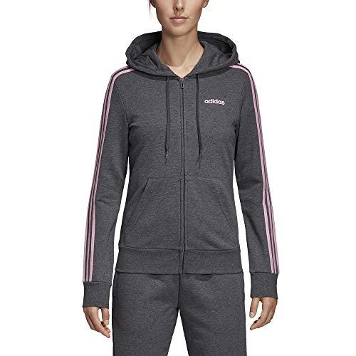 Zip Pink Cappuccio Felpa Adidas true Heather Donna 3stripes Full Dark Grey Con Essentials Hoodie q0AOt