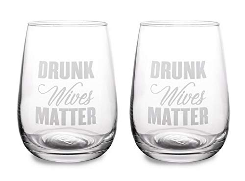 Stemless wine glasses set of 2 - Drunk Wives Matter glass tumbler 17 oz - Funny sayings goblet for woman - Red white wine Cocktail glassware - Gift for friend, sister, bachelorette party bridal shower
