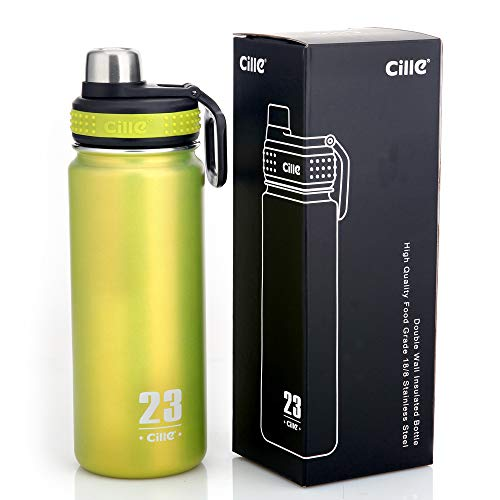 - CILLE 24 oz Stainless Steel Vacuum Insulated Water Bottles, Double Walled Leak Proof Bicycle Wide Mouth Water Bottle for Sports (Green)