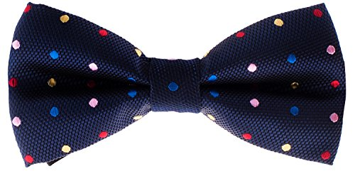 Man of Men - Men's Bowtie - Navy Blue with Multi-Color Polka Dots Bow -
