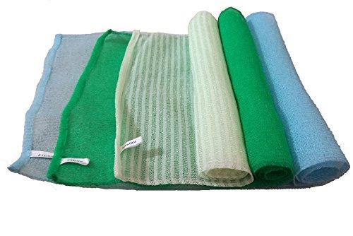 KAKOOI Exfoliating Washcloth, 35ins Long Bath Towels,Shower Cloth For Body,3pcs (Blue,Green,Stripes (Stripes Washcloth)