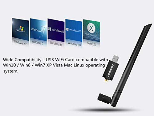 OSGEAR USB WiFi Adapter 1200Mbps USB 3.0 Wireless Card Network Dongle - Dual Band 802.11ac/b/g/n 2.4Ghz/5Ghz with High Gain 5dBi Antenna for Desktop Laptop Win 10 8 7 XP Vista Mac Linux