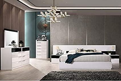Amazon.com: Modern Bedroom White/Black Lacquer 4pc Eastern ...