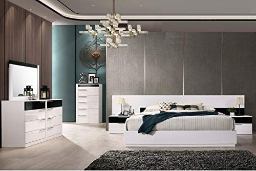 Modern Bedroom White/Black Lacquer 4pc Eastern King Size Bed Bedroom Furniture