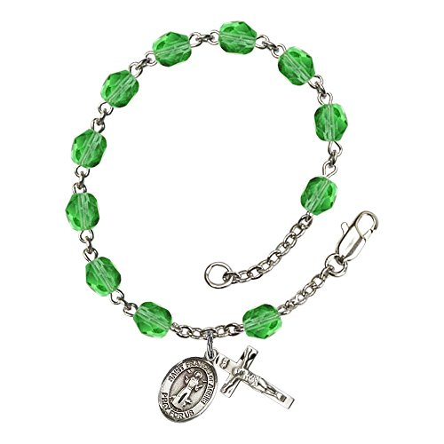 August Rosary (St. Francis of Assisi Silver Plate Rosary Bracelet 6mm August Green Fire Polished Beads Crucifix Size 5/8 x 1/4 medal charm)