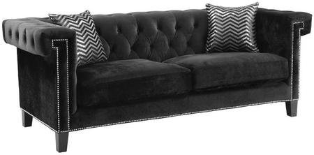 "Coaster Reventlow Collection 505817 88"" Sofa with Nail Head Trim Accent Pillows Reversible Pocket Coil Seating Kiln Dried Hardwood Frame and Velvet Upholstery in Black"