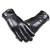 Men Genuine Leather Winter Gloves Full finger SheepSkin Lined Driving Gloves