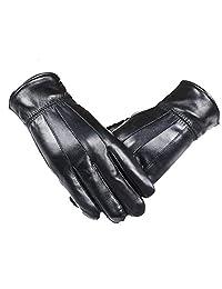 Men's Genuine Leather Warm Winter Gloves Motorcycle Full Finger Soft Sheep Skin Lined Driving Gloves (Black1)