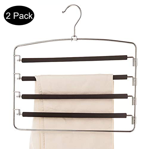 Homexpect Pants Hangers Space Saving 2 Pack, Strong and Durable Anti-Rust Metal Slack Hangers, Multi Layers Swing Arm Pants Hangers, Non-Slip Foam Padded for Trousers, Jeans Etc