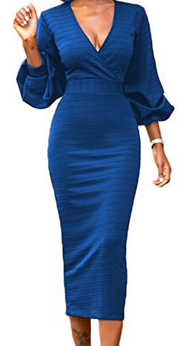 LAVENCHY Womens Vogue 3/4 Lantern Sleeve Sexy Party Cocktail Holiday Bodycon Midi Skirt Dress For Women Royal Blue,M