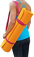 "Clever Yoga Yoga Mat Strap Sling – Adjustable Durable Cotton Yoga Mat Carrier – Carrying Strap in Standard (66"") or Extra Long (85"") For Thick Yoga Mat - Doubles As Yoga Strap For Stretching – From"