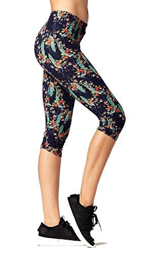 Premium Ultra Soft Womens High Waisted Capri Leggings - Cropped Length - Printed - Envy - Small/Medium (0-12)