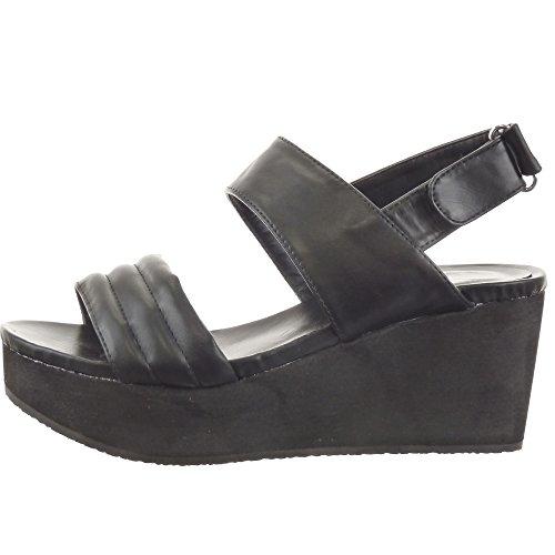 Sopily - Scarpe da Moda sandali scarpe decollete Zeppe alla caviglia donna Lines Tacco zeppa piattaforma 7 CM - Nero