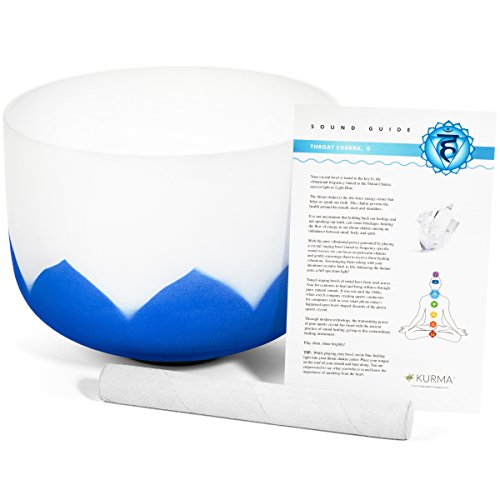 Blue Throat Chakra Crystal Singing Bowl G Note, Chakra Symbol with Lotus, Mallet and Guide Included (10 inch) by Kurma Yoga