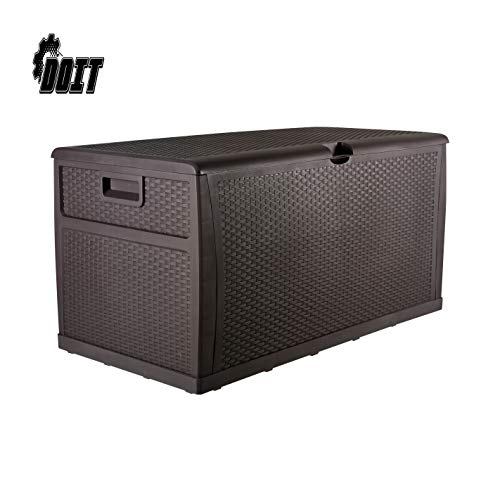 DOIT 120 Gallon Outdoor Patio Deck Box Plastic Wicker Storage Bench Box,Brown