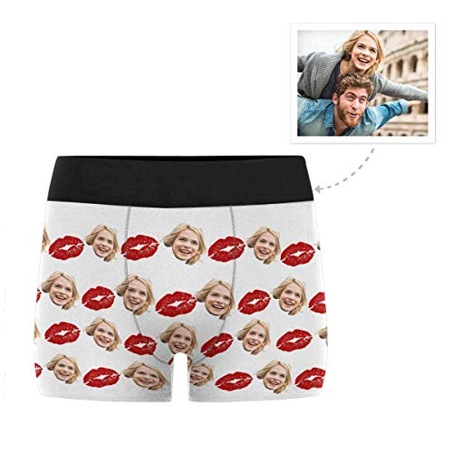 Custom Men's Funny Face Novelty Boxer Briefs Shorts Kiss Me Happy Valentine's Day Printed with Photo XL