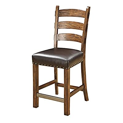 Emerald Home D412-24-2PK-K Chambers Creek RTA Barstool with Nailhead Bonded Leather and Upholstered Seat, 2 Pack, Brown