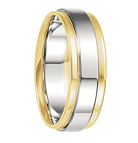 7.5 mm 18k Yellow Gold and Platinum Two-Tone Grooved Edge Flat Comfort Fit Band, Size 5.5 by The Men's Jewelry Store (for HER)