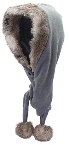 Bellady Kids Winter Warm Fleece Earflap Hat Long Scarves,Grey