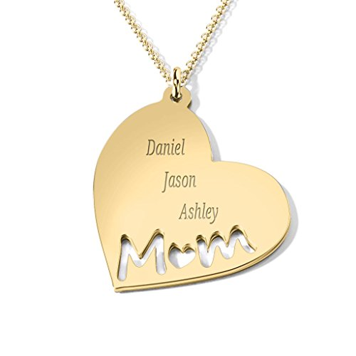 Engravable Gold Pendants - 14K Yellow Gold Mom's Heart Engravable Necklace with a 18