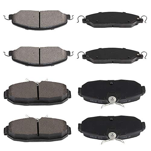 (SCITOO 8pcs Front Rear Ceramic Brake Pads fit for 2005 2006 2007 2008 2009 2010 2011 2012 2013 2014 Ford Mustang)