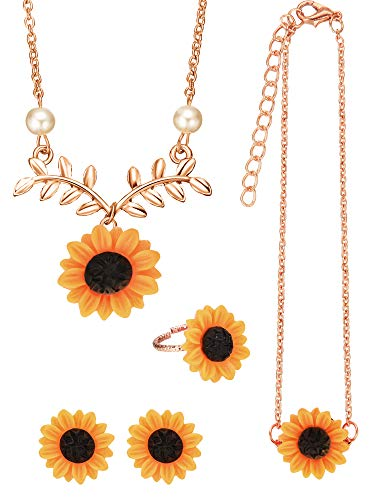 Pendant Bracelet Earrings - 5 Pieces Totally Sunflower Shape Necklace Drop Petal Pendant Necklace with Faux Pearl, Sunflower Bracelet Earrings Ring for Women Jewelry Accessories (Style Set 2, Rose Gold)