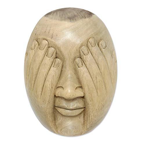 """NOVICA 190272"""" See No Evil Wood Mask"""
