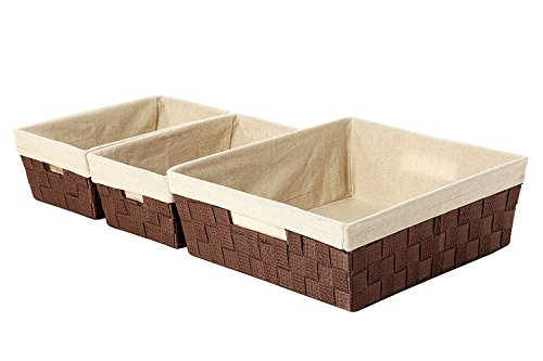 Decorative Storage Organizer Nesting Baskets Brown - Large:15.5 x 13 x 5 Inches, Small: 12 x 7 x 4.5 Inches - 3 Piece Set