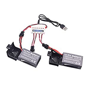 Youcute 2pcs 3.7v 1000mah Official Battery and 1to3 Charger for Udi U842 U818S Rc Quadcopter Drone Black Spare Parts