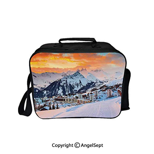 - Fashion Custom Lunch Bag Tote Bag,Majestic Winter Scenery over High Mountain Peaks with Dusk Color Sky Orange White 8.3inch,Lunch Organizer Lunch Holder For Unisex Adults