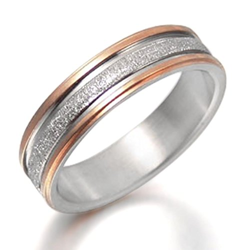 Gemini Custom Groom or Bride Two Tone Rose Gold Titanium Couple Wedding Ring width 6mm US Size 8.5 Valentine's Day Gift